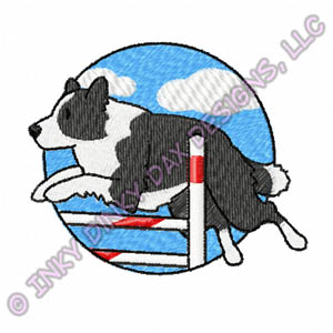 300x300 Bar Jump Border Collie Embroidered T Shirt Sew Dog Crazy