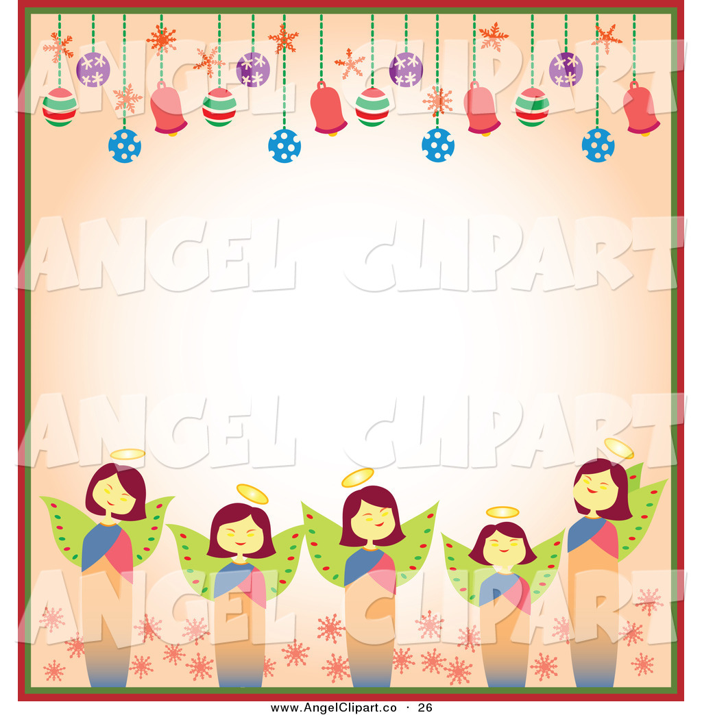 1024x1044 Clip Art Of A Border Of Christmas Angels And Christmas Bulbs
