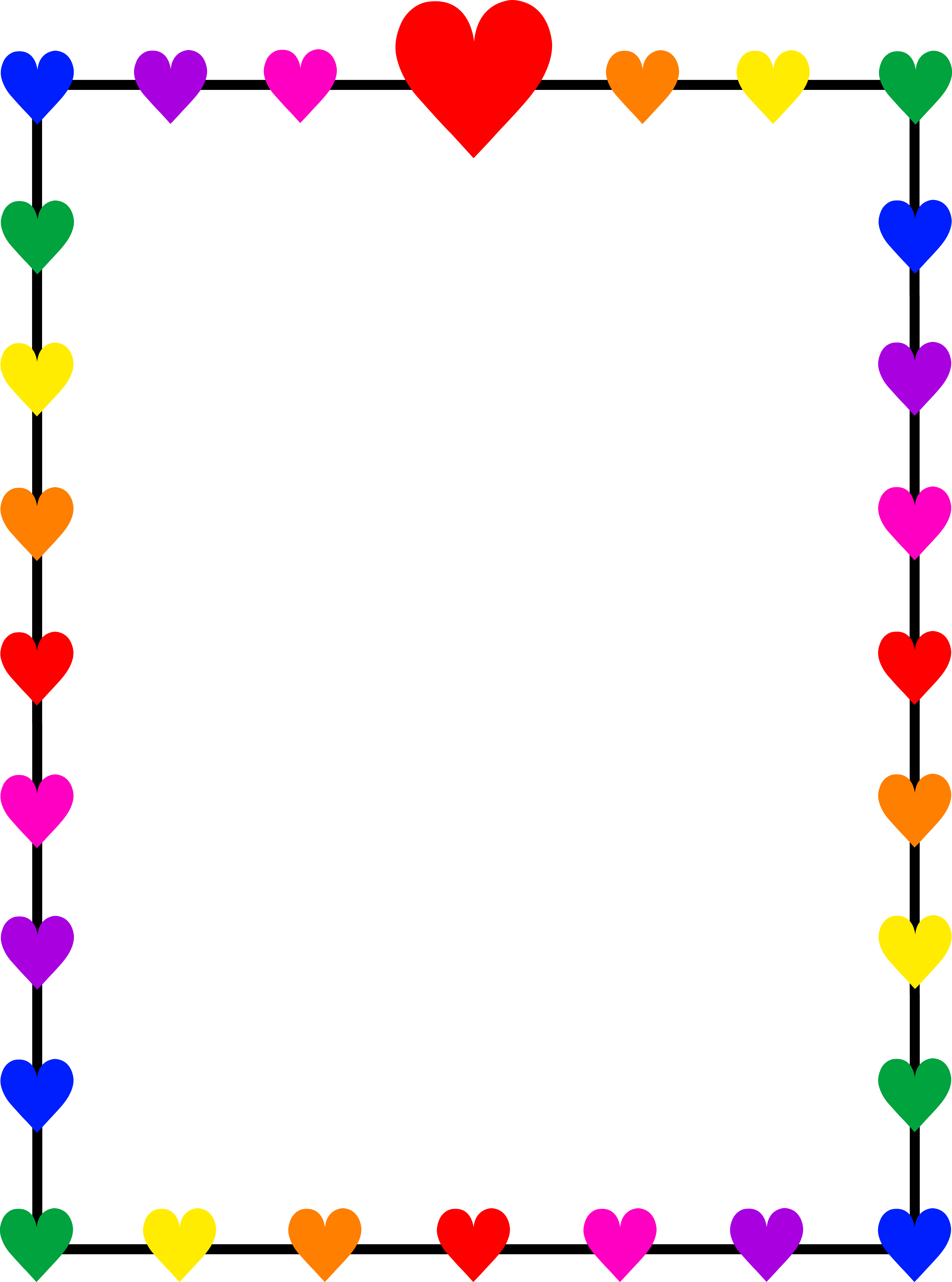 5952x8014 Borders And Frames Clip Art Rainbow Hearts Border Frame