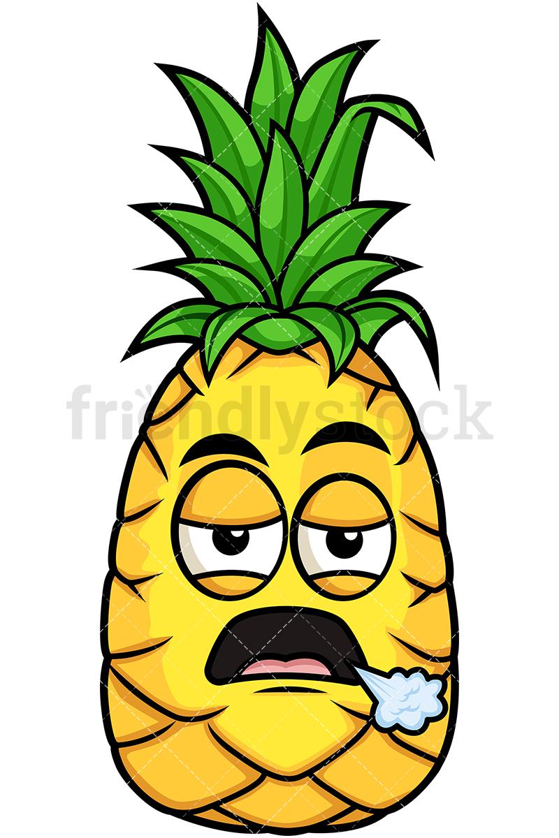 800x1200 Bored Pineapple Cartoon Vector Clipart