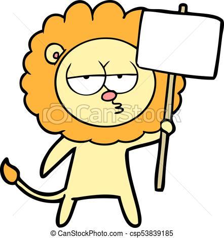 442x470 Cartoon Bored Lion Vector