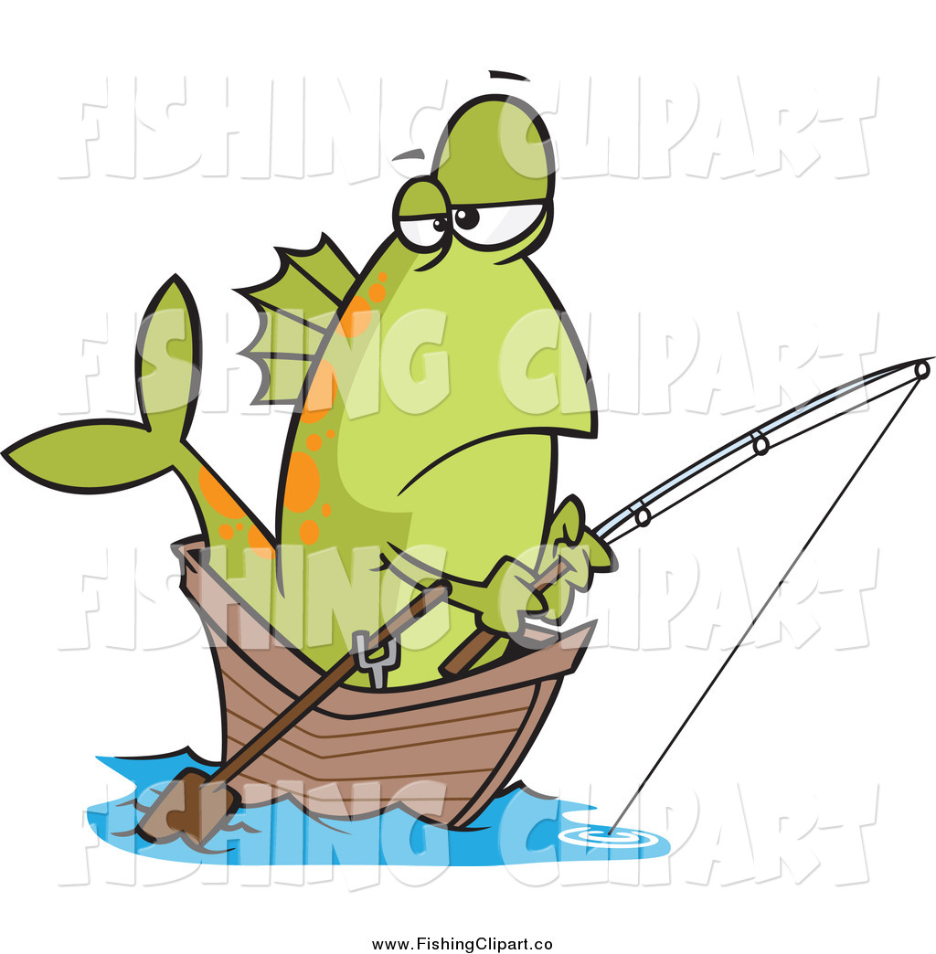 1024x1044 Clip Art Of A Bored Green Fish Fishing From A Boat By Toonaday