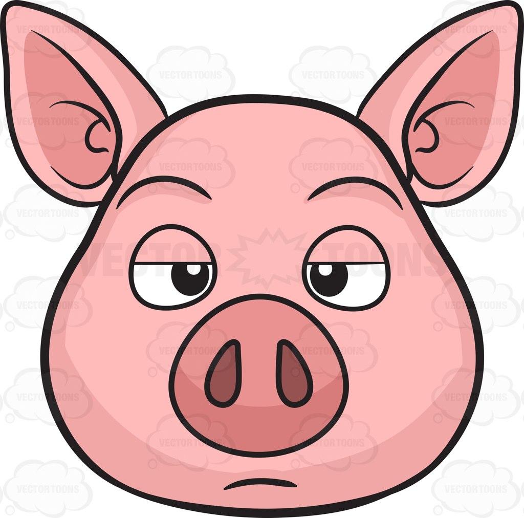 1024x1012 A Bored Pig Cartoon Clipart Vector Toons