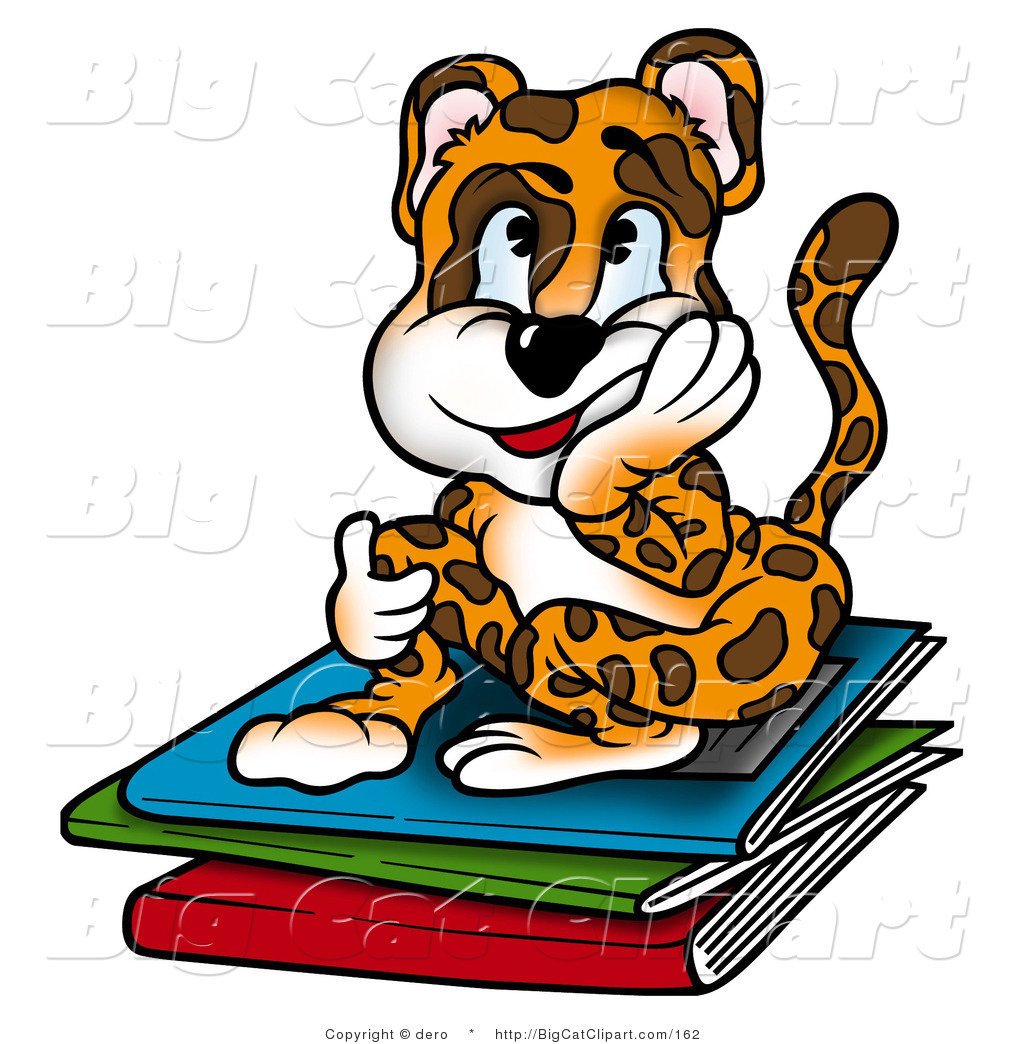 1024x1044 Big Cat Clipart Of A Bored Leopard Student Sitting On Books By