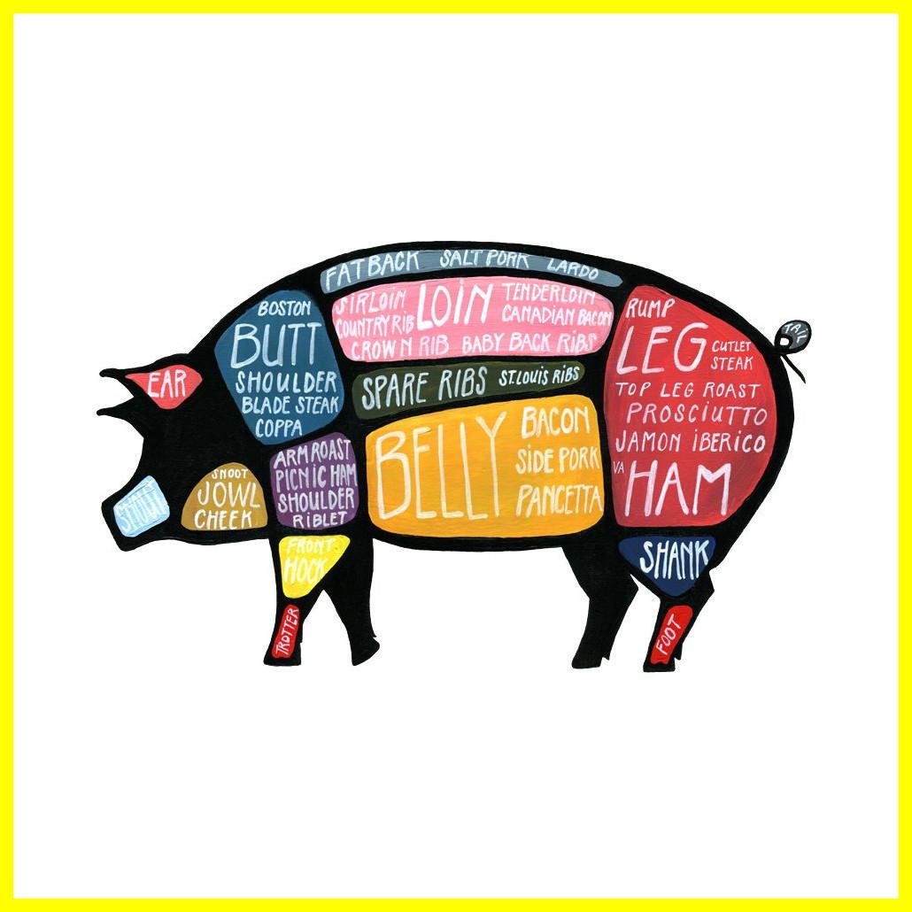 1030x1030 Amazing Detailed Pig Butcher Diagram Of Piggy Clipart Trends