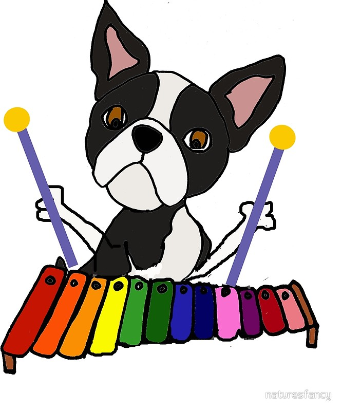 666x800 Cute Boston Terrier Dog Playing Xylophone Cartoon By Naturesfancy