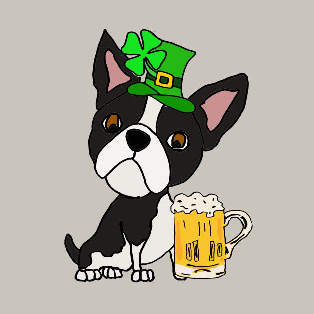 630x630 Cute Boston Terrier Dog St. Patrick's Day Cartoon