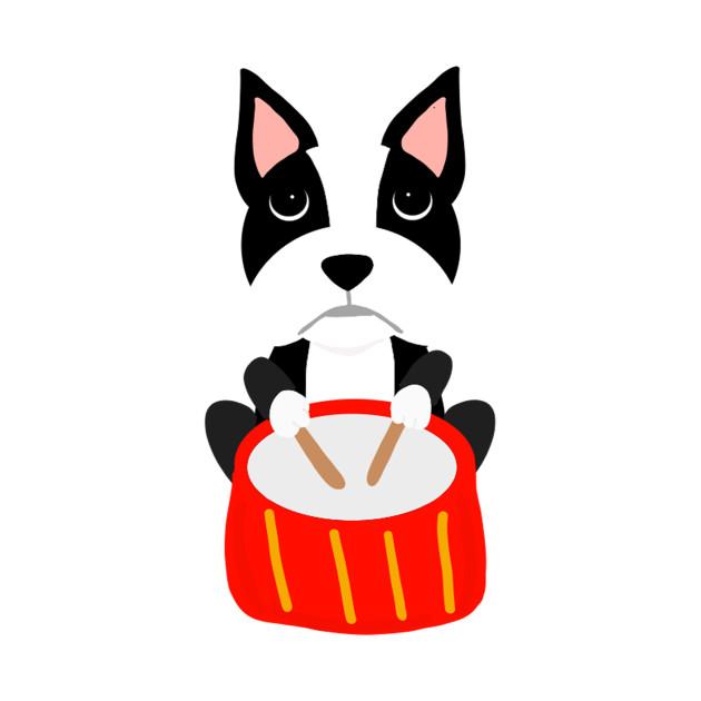 630x630 Fun Boston Terrier Dog Playing Drums