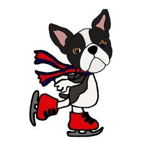 300x300 Humorous Cool Ice Sating Boston Terrier Cartoon
