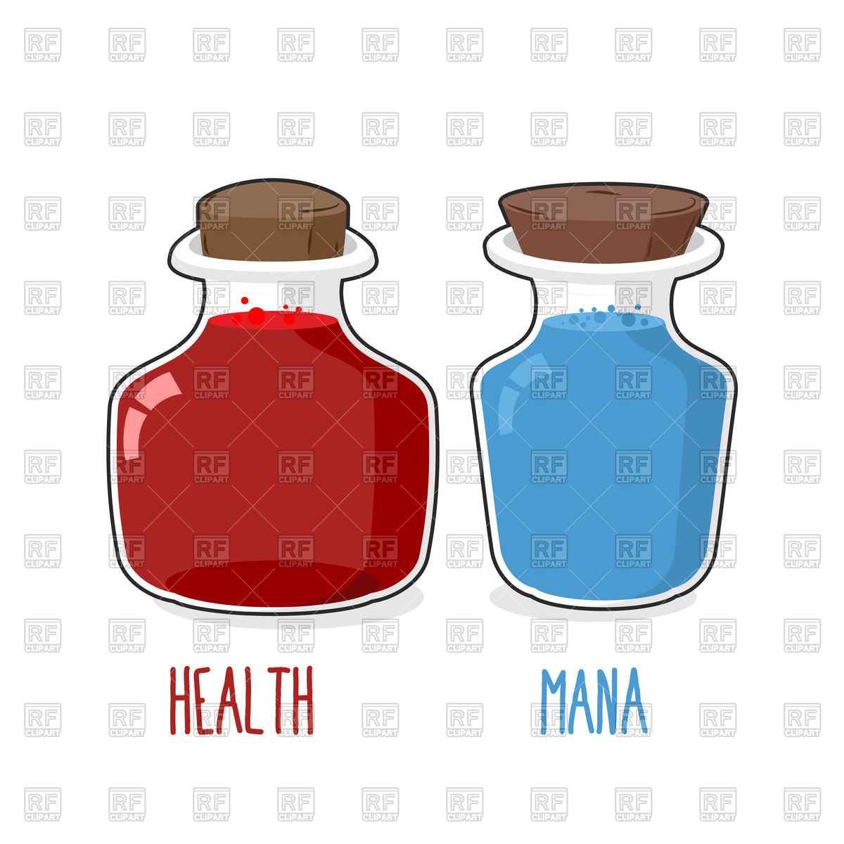 1200x1200 Magic Bottle With Health And Mana Royalty Free Vector Clip Art