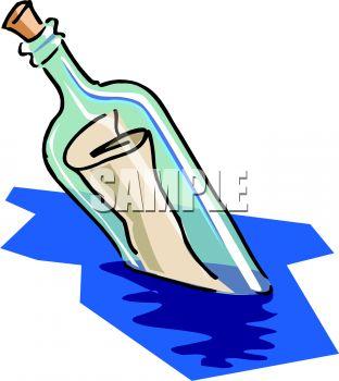 312x350 Message In A Bottle Floating In The Ocean