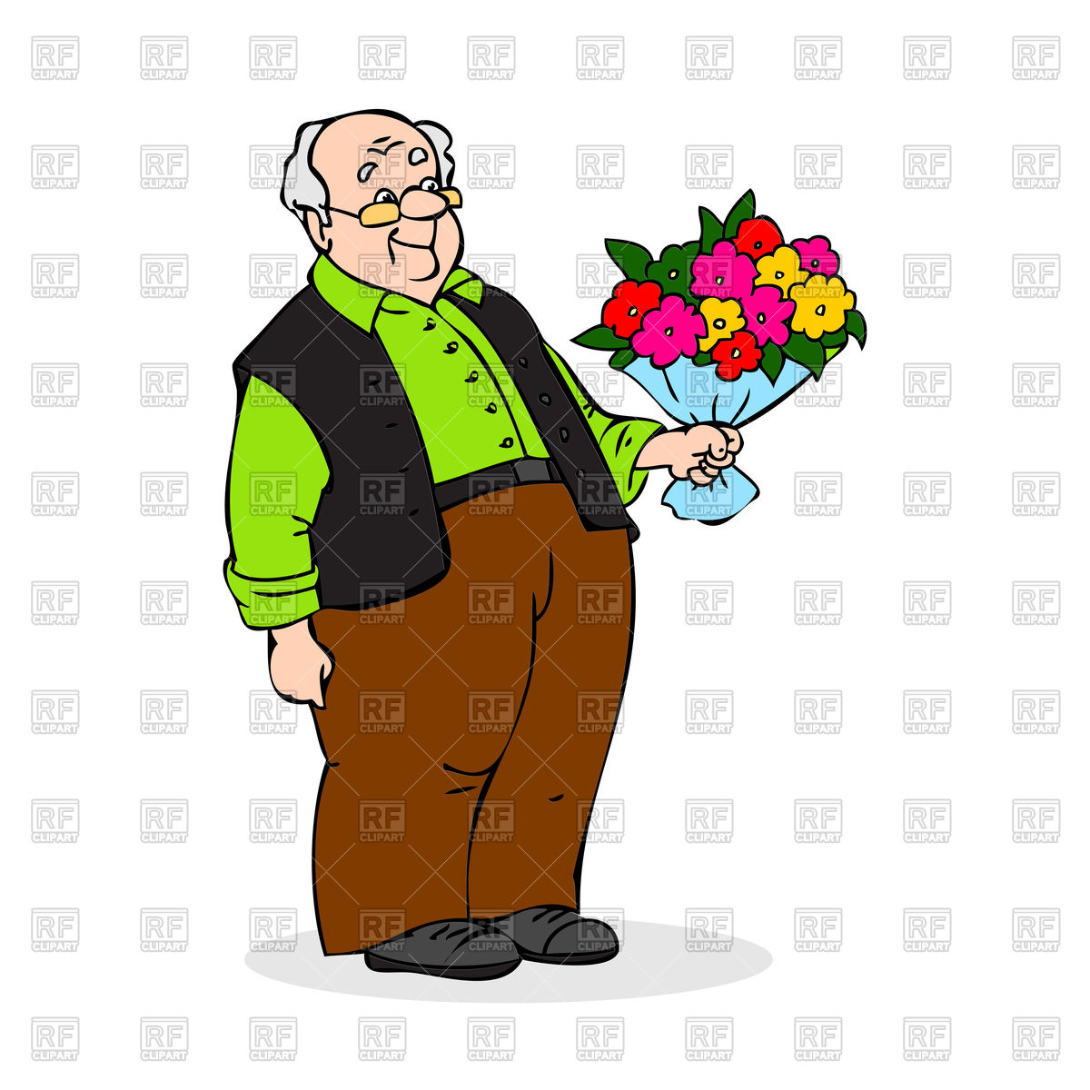 1200x1200 Old Man With A Bouquet Of Flowers Royalty Free Vector Clip Art