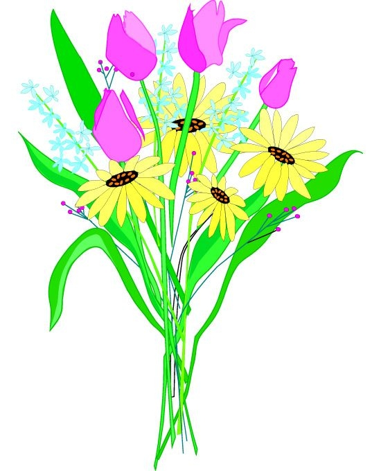550x680 Bouquet Of Flowers Clip Art Bouquet Clipart Flower Png Pencil