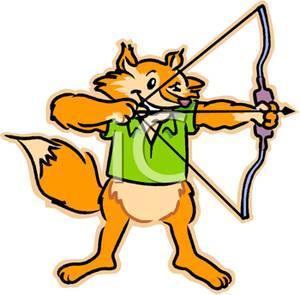 300x295 Clipart Image A Fox Shooting A Bow And Arrow