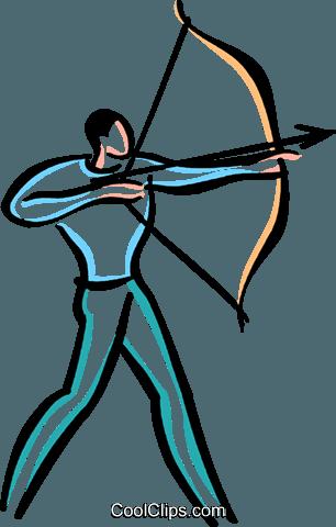 306x480 Man Shooting Bow And Arrow Royalty Free Vector Clip Art