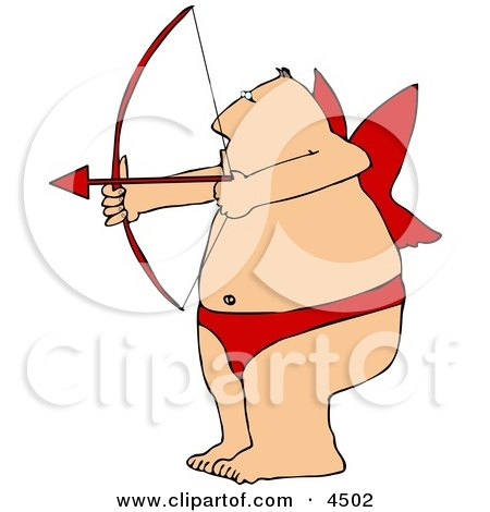 450x470 Overweight Man Wearing Valentine Cupid Costume While Aiming A Bow