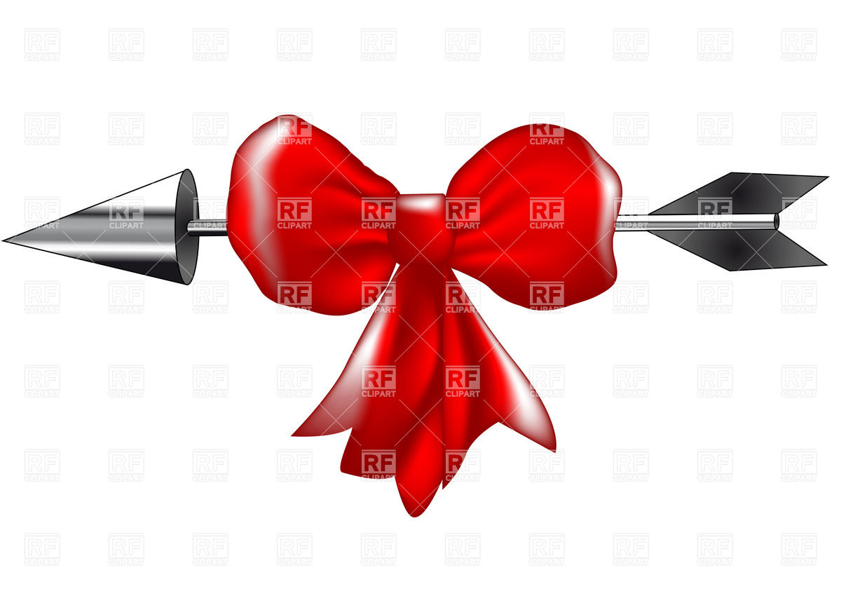 1200x843 Silver Arrow With Red Bow Royalty Free Vector Clip Art Image