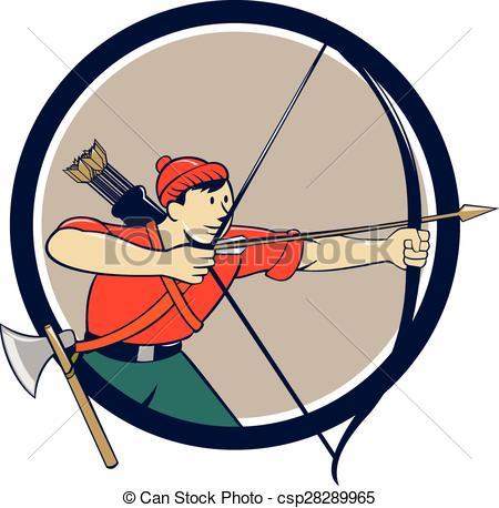 450x458 Archer Aiming Long Bow Arrow Cartoon Circle. Illustration