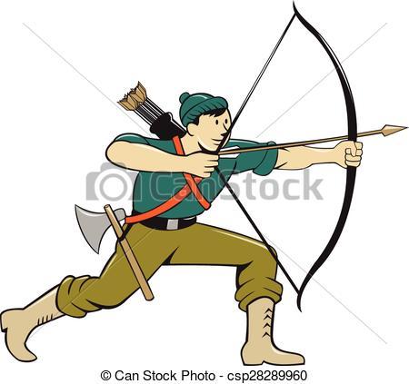 450x423 Archer Aiming Long Bow Arrow Cartoon. Illustration Of An Clip