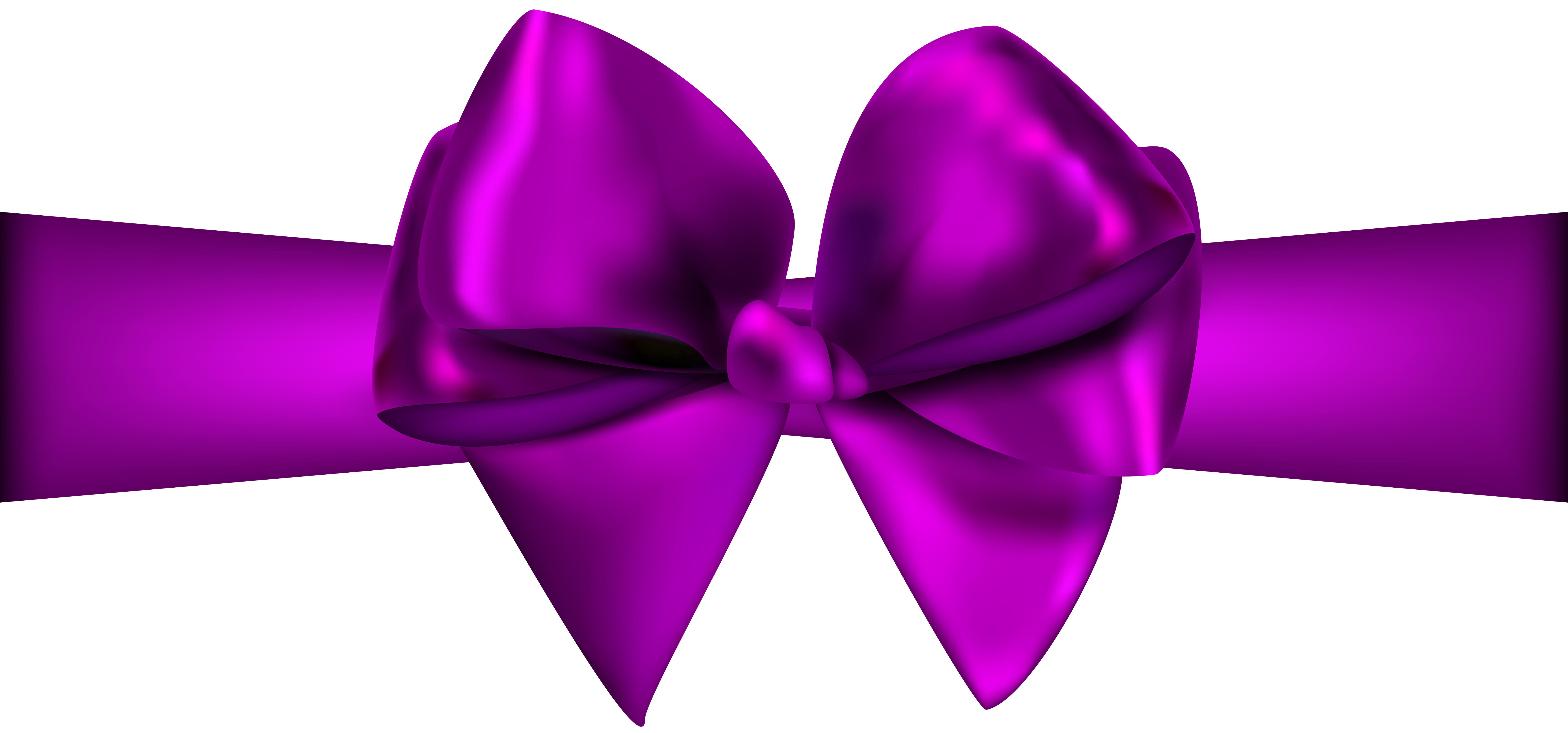 7000x3274 Purple Ribbon With Bow Png Clip Art