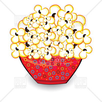 400x400 Popcorn In Red Bowl Royalty Free Vector Clip Art Image
