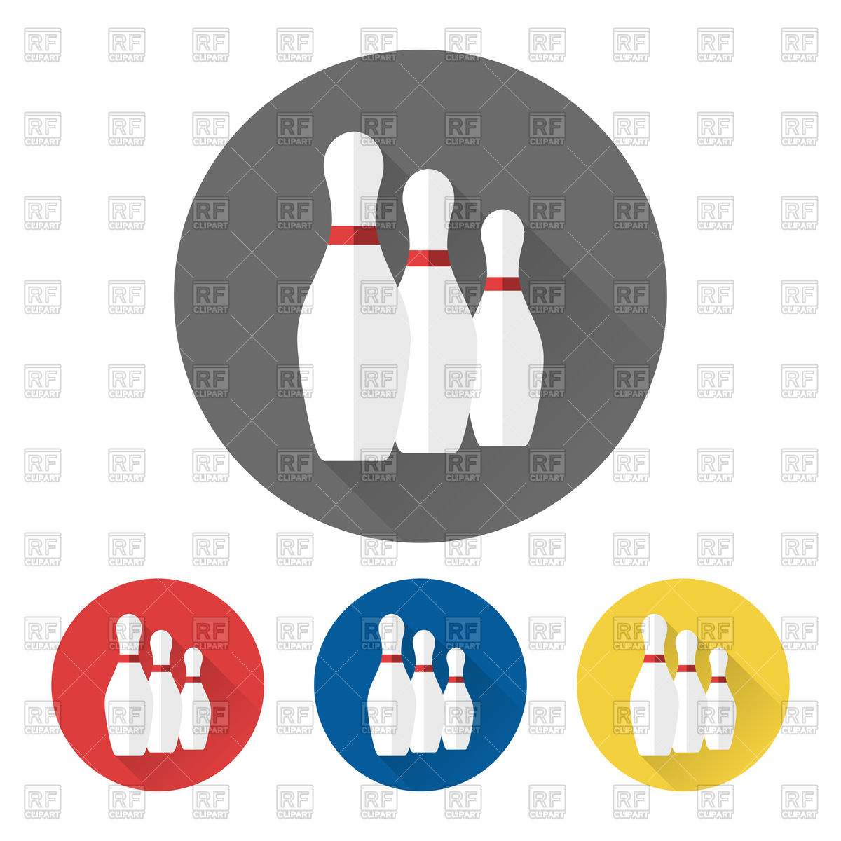 1200x1200 Flat Bowling Icons With Skittles Royalty Free Vector Clip Art
