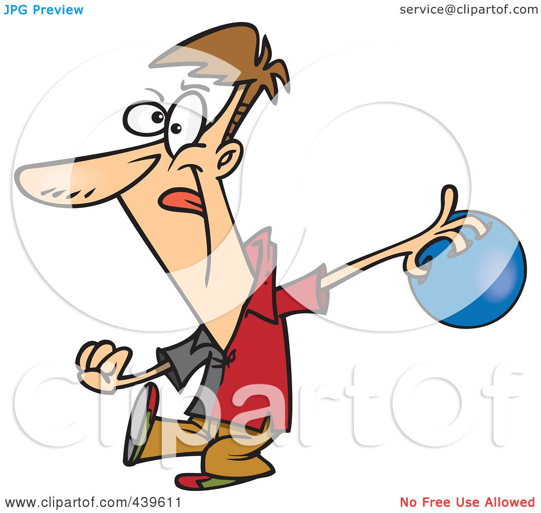 1080x1024 Royalty Free (Rf) Clip Art Illustration Of A Cartoon Man Bowling