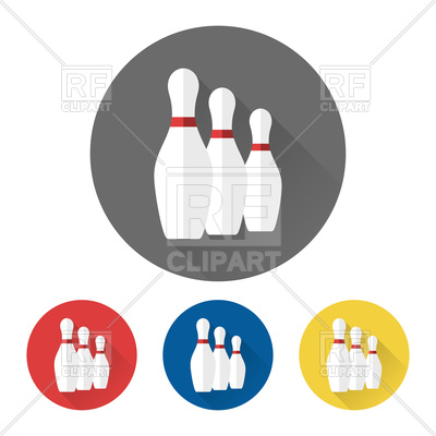 400x400 Flat Bowling Icons With Skittles Royalty Free Vector Clip Art