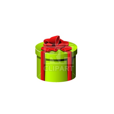 400x400 Round Gift Box With Ribbon Royalty Free Vector Clip Art Image