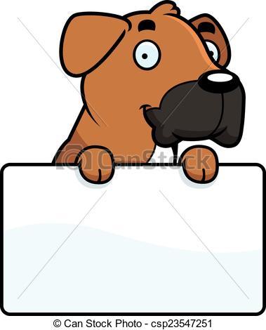 379x470 Cartoon Boxer Sign. A Cartoon Illustration Of A Boxer Dog