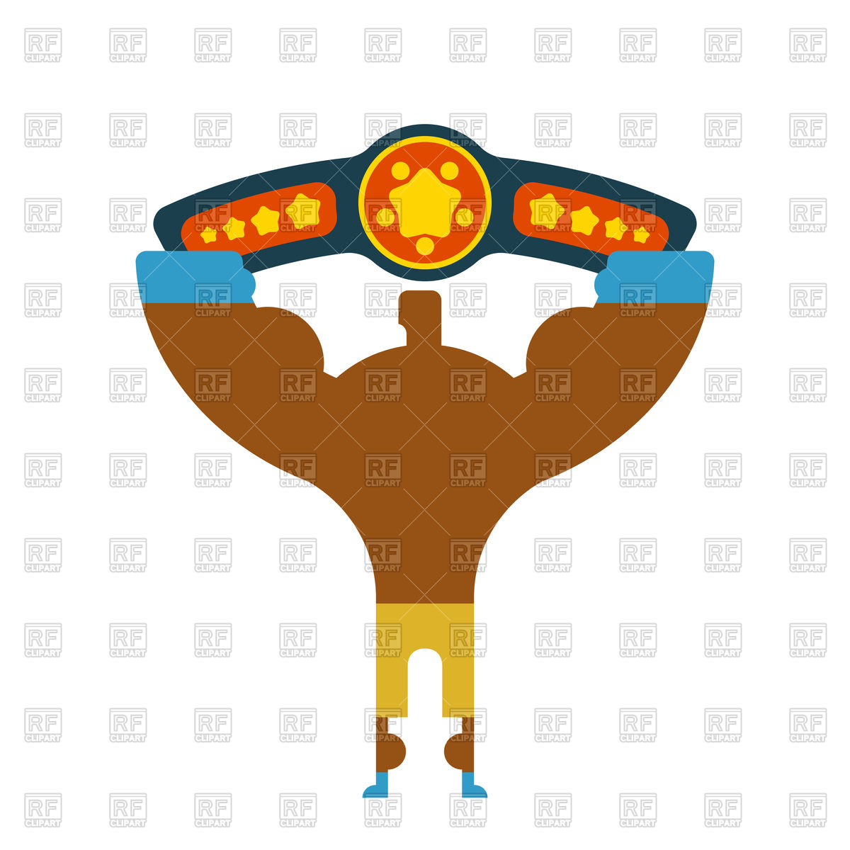 1200x1200 Champion Boxer Winner Hands Up With Belt Royalty Free Vector Clip