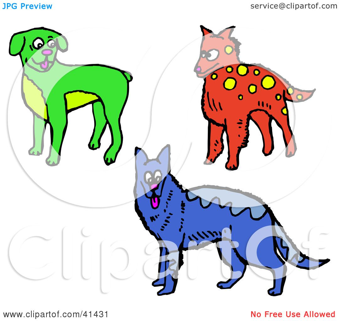 1080x1024 Clipart Illustration Of A Green Boxer, Red Dog And Blue Alsatian
