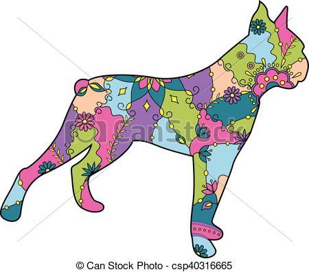450x397 Vector Boxer Dog Colorful Clip Art Vector
