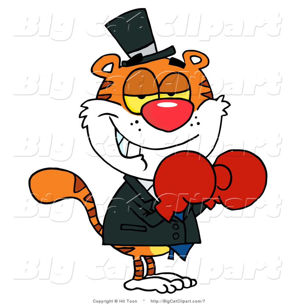1024x1044 Big Cat Vector Clipart Of A Tiger Wearing Boxing Gloves By Hit