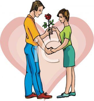 328x350 Boy Giving Girl A Rose Clip Art