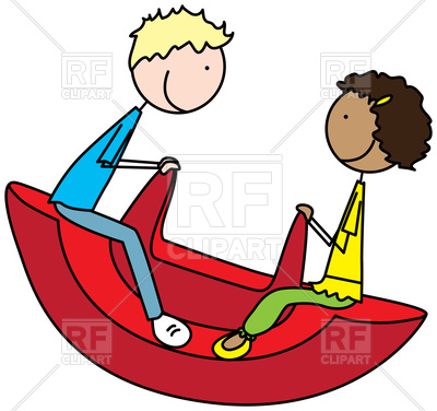 400x376 Cartoon Illustration Of A Boy And Girl On A Seesaw Royalty Free