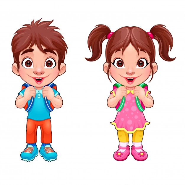 626x626 Girl And Boy Clipart Funny Young Boy And Girl Students Vector