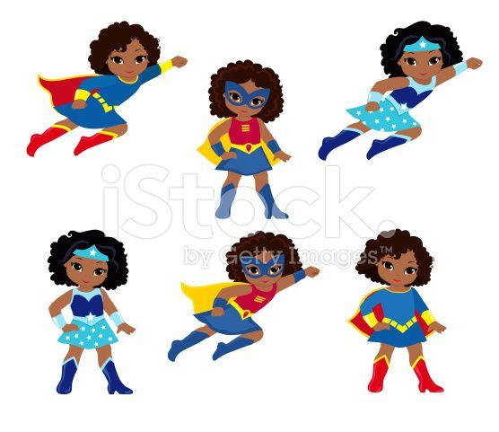 556x481 African American Cute Superhero Girl Vector Clip Art Set. Clip