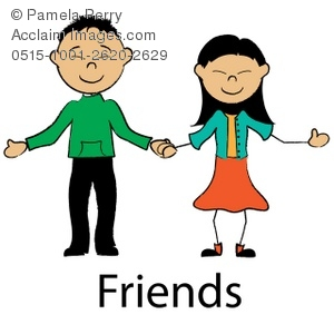 300x300 Clip Art Illustration of an Asian Stick Boy and Girl Holding Hands