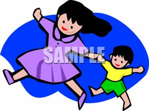 300x224 Clip Art Image An Asian Girl and Her Younger Brother Holding Hands