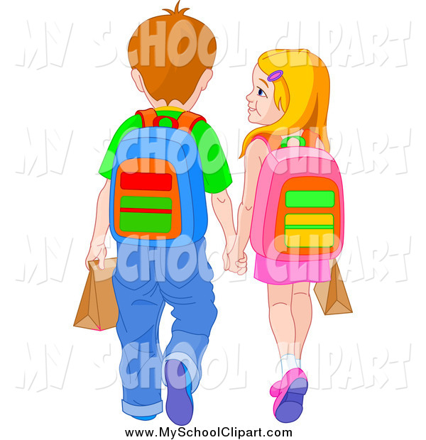 600x620 Clip Art of a Rear View of a White School Boy and Girl Holding