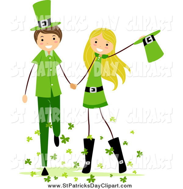 600x620 Clip Art of a St Patricks Day Stick Boy and Girl Holding Hands and