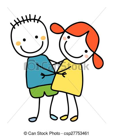 393x470 Girl and boy holding their hands clip art vector