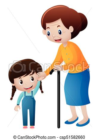 334x470 Grandmother and little girl holding hands illustration clip art