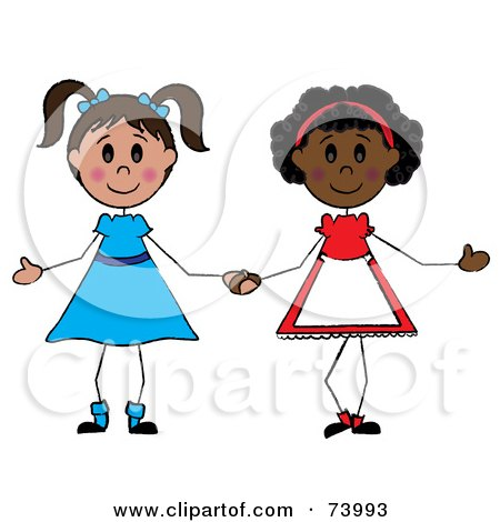 450x470 Royalty Free (RF) Clipart Illustration of Two Diverse Girls
