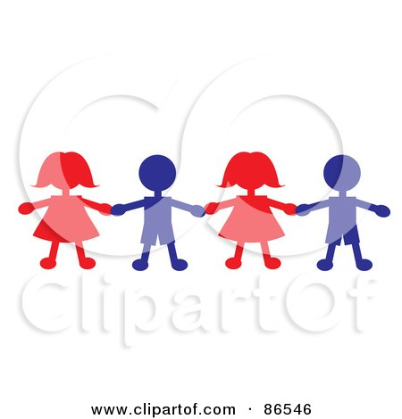 450x470 Royalty Free (RF) Clipart Illustration of a Line Of Red And Blue