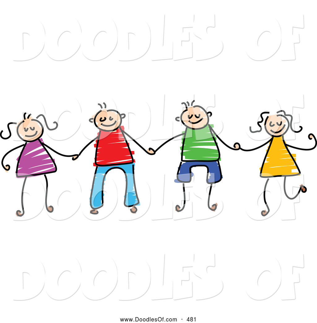 1024x1044 Vector Clipart of a Childs Sketch of Boys and Girls Holding Hands