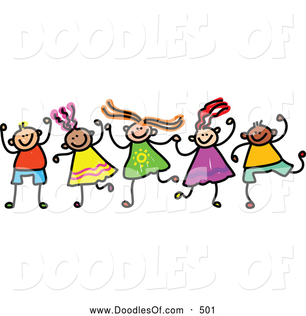 600x620 Vector Clipart of a Friendly Childs Sketch of Boys and Girls