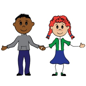 300x300 clip art girl and boy cartoon stick figure boy and girl holding