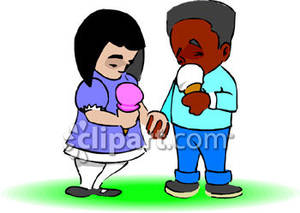 300x213 Boy and Girl Holding Hands, Eating Ice Cream Cones